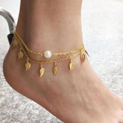 Anklet Leaves Anklet Golden Anklets Leaf Anklet